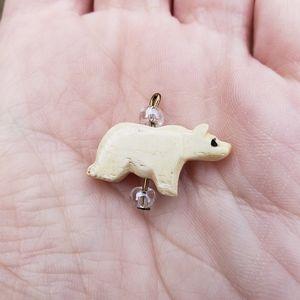 Hand-carved Bone Inuit Polar Bear Charm